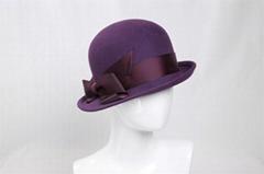 Wool Felt Bowler Hat for Women