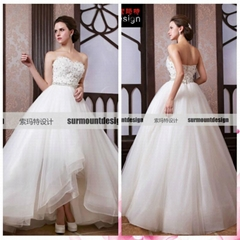 Surmount Professional Real Sample Sweetheart Top Crystals Sequines Wedding Dress