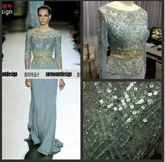 Sky Blue Pearl Chiffon Beading Elie Saab Dresses For Sale Long Sleeve Dresses