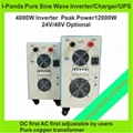 2years warranty LCD 4000W Inverter with Charger Pure Sine Wave DC24V DC48V to AC 3