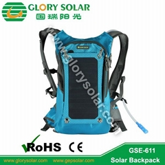 multifunction solar backpack with 6.5W solar charger and water bag