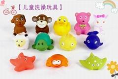 新款捏捏叫搪胶BB叫洗澡玩具动物造型12只装