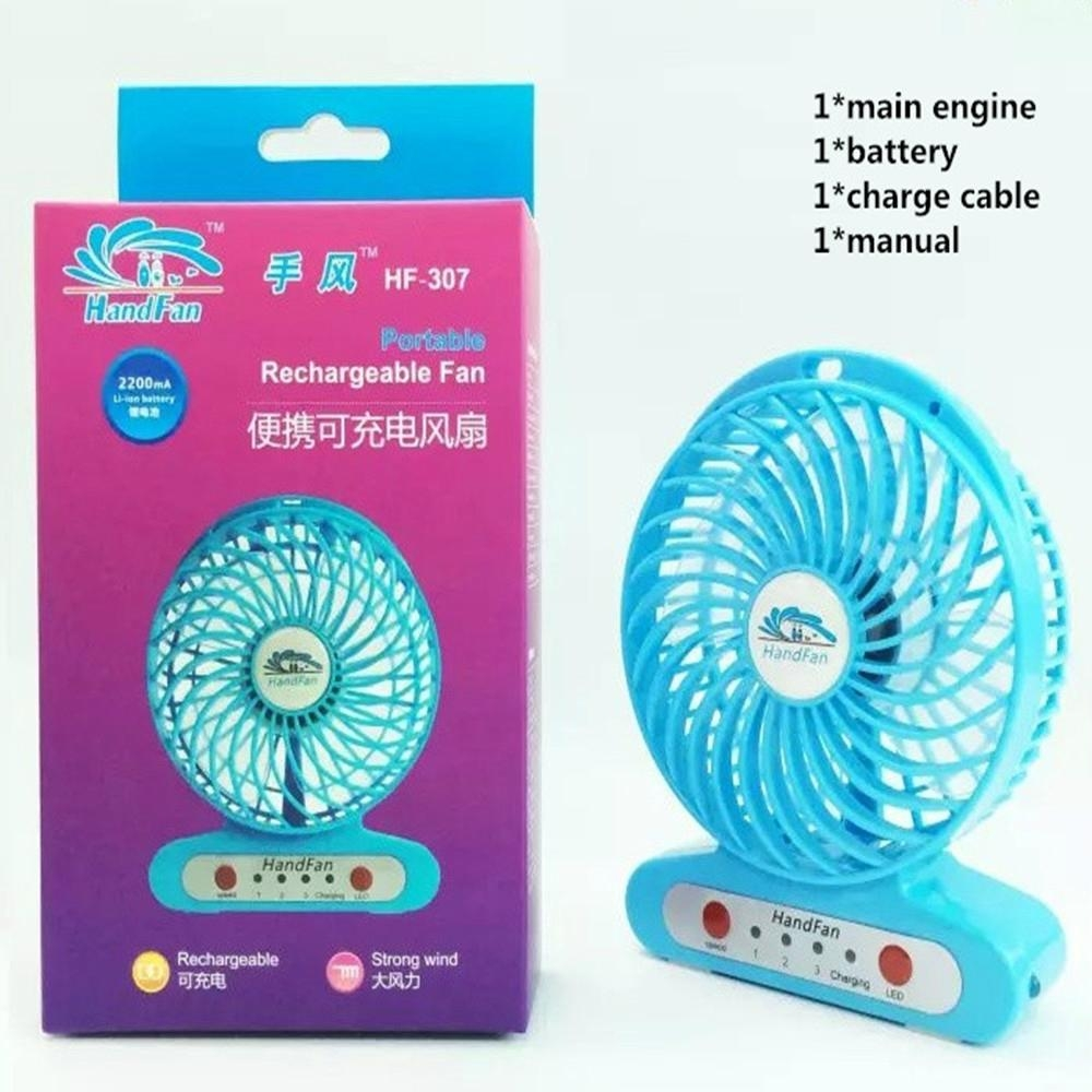 Handfan  usb mini battery Operated rechargeable fan with led light 1