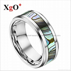 外貿貨源歐美時尚男士迷彩貝鎢鋼戒指