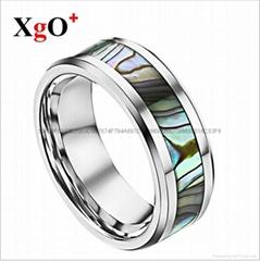 外贸货源欧美时尚男士迷彩贝钨钢戒指