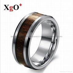 直銷歐美時尚鑲木紋鎢鋼男士戒指 外貿熱銷飾品