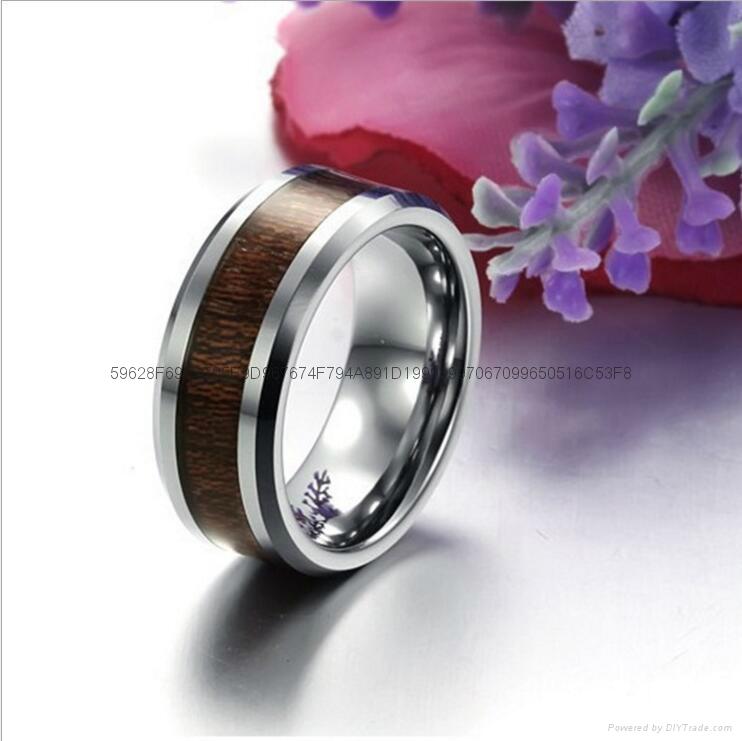 直销欧美时尚镶木纹钨钢男士戒指 外贸热销饰品 3
