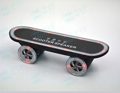Fashion skateboard shape outdoor mini stereo bluetooth speaker with led light