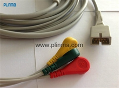 ECG cable 9 pin 3 leads for MEK MP5/MP600/MP1000
