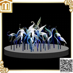 Hand made murano glass decorative art red-crowned crane glass table sculpture