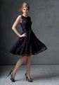 Black Lace Bateau Knee-length Bridesmaid Dress with Elastic Satin Sash