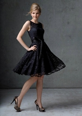 Black Lace Bateau Knee-length Bridesmaid Dress with Elastic Satin Sash