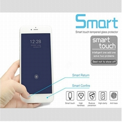 Smart touch tempered glass screen protector with touch back and confirm buttons,