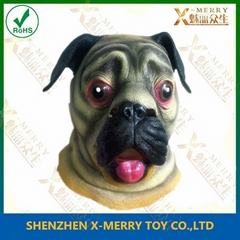 Animal pug dog latex face mask for halloween party costumes