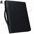 Zipper Leather Binder with calculator portfolio ring binder 1