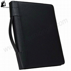 Zipper Leather Binder with calculator portfolio ring binder