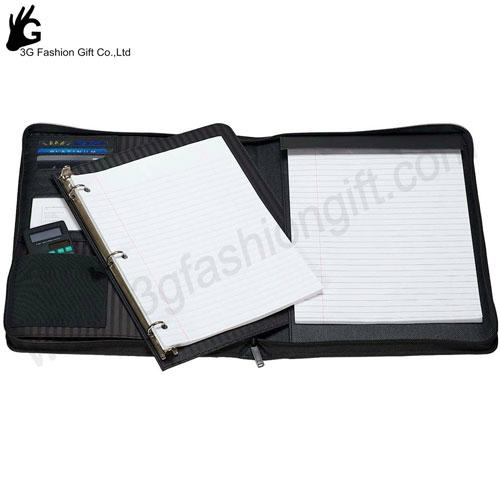 Zipper Leather Binder with calculator portfolio ring binder 2
