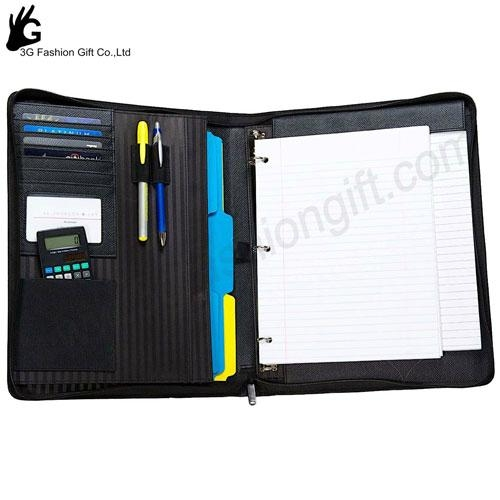 Zipper Leather Binder with calculator portfolio ring binder 3