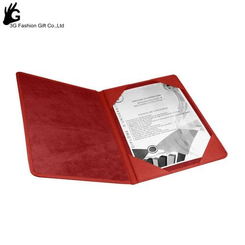 Cheap A4 file Paper Certificate Holders with leather cover 3