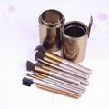 Gold naked2 12pc makeup brush set travel tool with cyliner brush cup holder 3