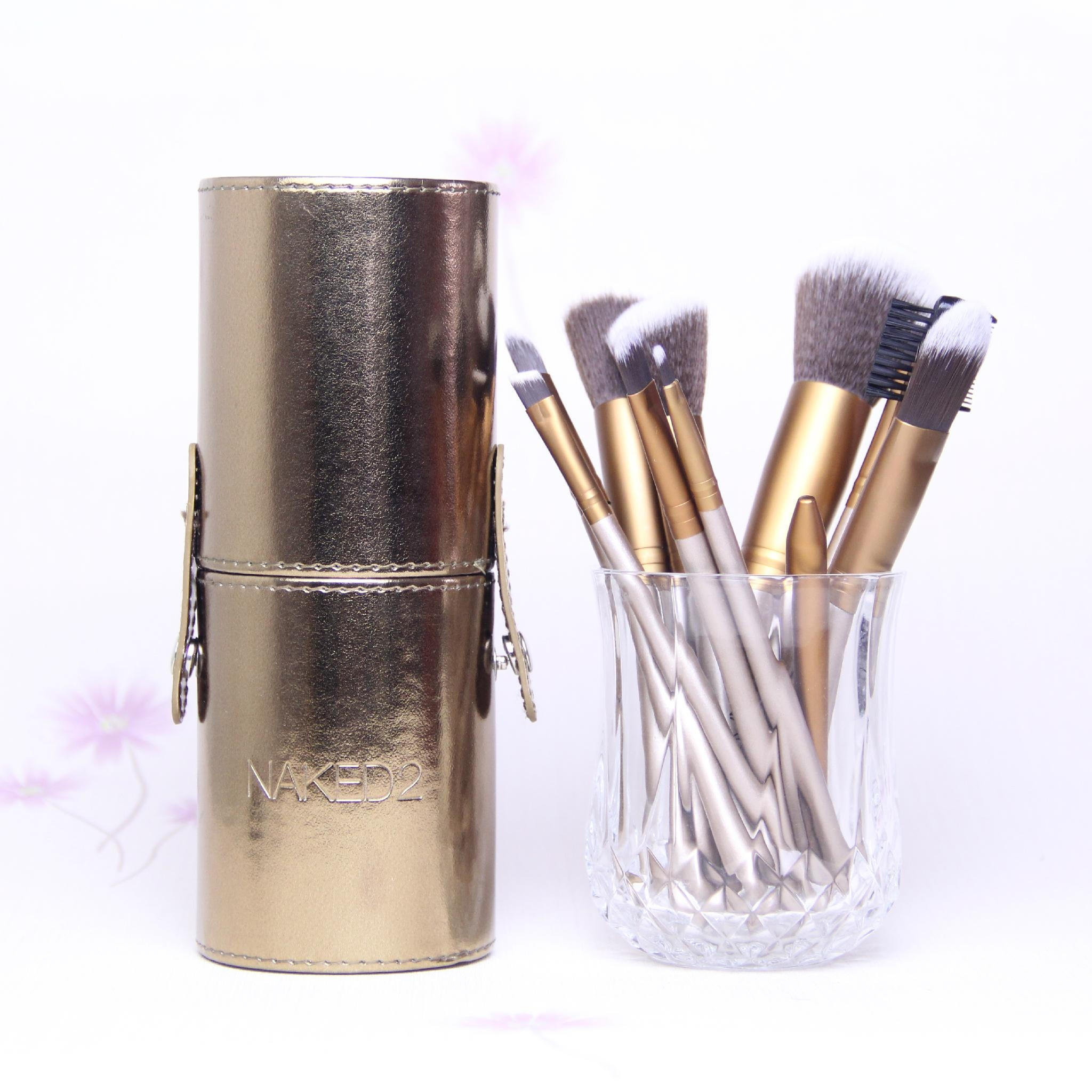 Gold naked2 12pc makeup brush set travel tool with cyliner brush cup holder 5