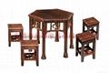 碳化休閑實木雙人車輪桌椅 5