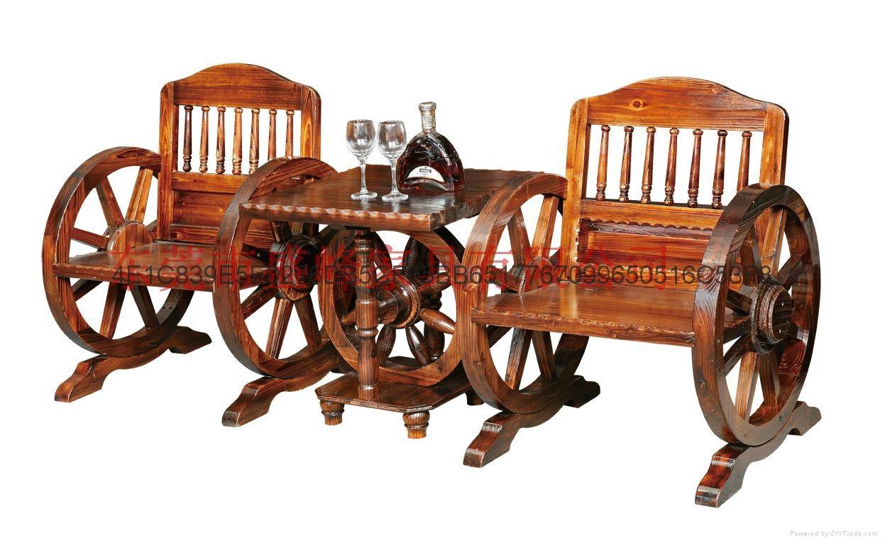 碳化休閑實木雙人車輪桌椅 2