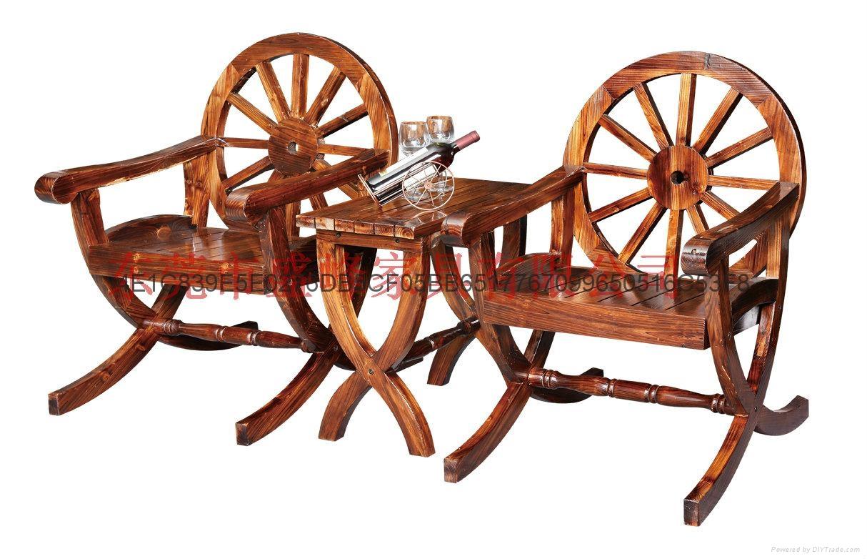 碳化休閑實木雙人車輪桌椅 4