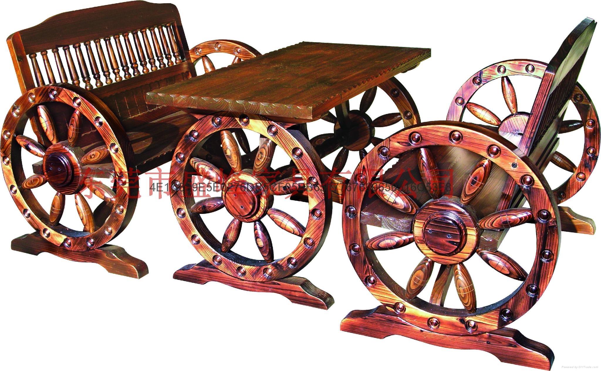 碳化休閑實木雙人車輪桌椅 1