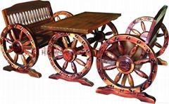 碳化休闲实木双人车轮桌椅
