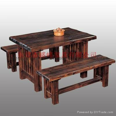 休閑酒吧碳化木單人車輪桌椅 3