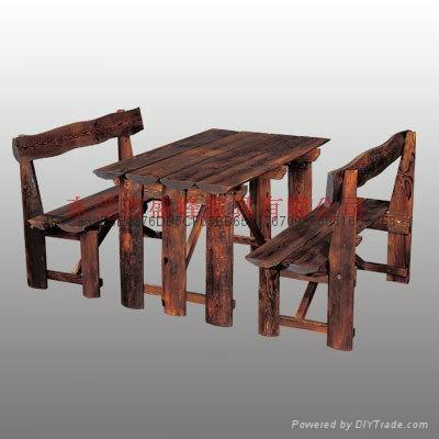 休閑酒吧碳化木單人車輪桌椅 4