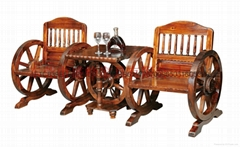 休閑酒吧碳化木單人車輪桌椅