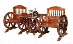 休闲酒吧碳化木单人车轮桌椅
