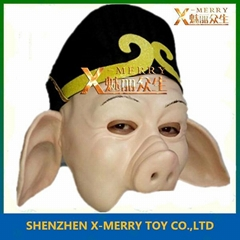 funny adult latex mask pig king mask halloween makeup
