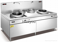 Commercial Induction Cooker with Double-head and Double-stock Pot