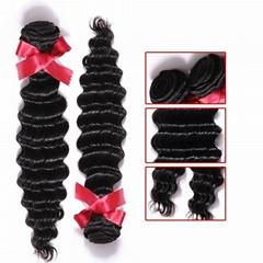 EVET Unprocessed Malaysian Human Hair Weaving Bundles Deep Wave Malaysian Human