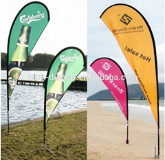 Customszie Folded Aluminum Pole 453cmH Beach Flag with Pin Base with Outdoor Adv