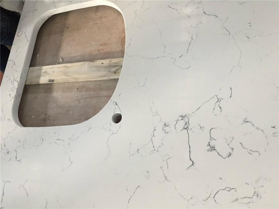 Carrara White Veined Quartz Stone Surfaces Countertops 1