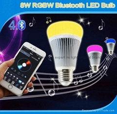 futlight LED Music control Bulb Wireless Bluetooth RGB+CCT 8w color changhe LED