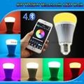 futlight LED Music control Bulb Wireless Bluetooth RGB+CCT 8w color changhe LED  2