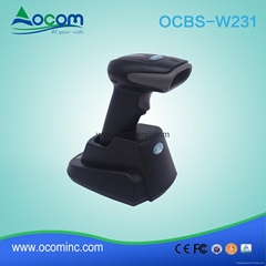 High Quality 433Mhz or Bluetooth Wireless QR Code 2D Barcode Scanner With Cradle