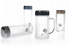 Double wall glass tumbler glass bottle glass cup