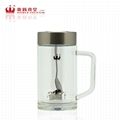 Magnetized double wall glass tumbler healthy glass bottle glass cup 2