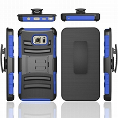 Hard Silicone TPU Rubber Case With Kickstand Belt Swivel Clip Cover for Note 5