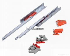 single extension undermount drawer slide with push open with clips