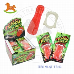 Sweet soft tongue gummy candy with teeth toy