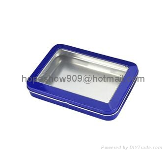 Custom Designed Rectangle metal gift tin box with PVC window 1