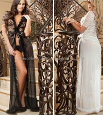 Lace and Fur Jiont Luxury Transparent Sexy Lingerie Women's Babydoll Nightwear S