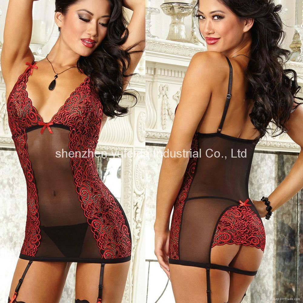 6a0982d3d8b Fashion Sexy Lingerie Womens Underwear Red Teddy Nightwear Sleepwear+G- string 1 ...